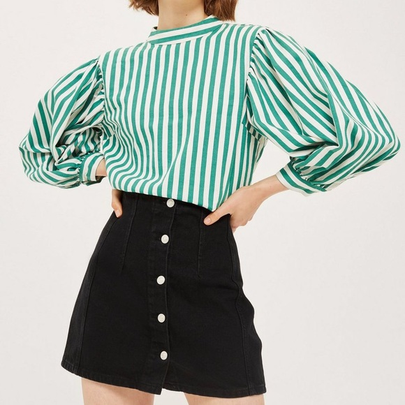 125ce1176a0e89 Topshop green  white striped balloon sleeve top 8